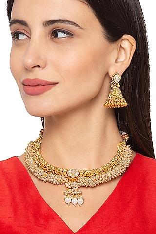 Gold Finish Choker Necklace Set by Hrisha Jewels
