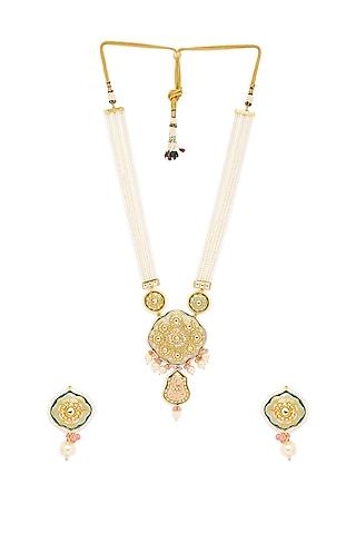 Gold Finish Long Necklace Set by Hrisha Jewels