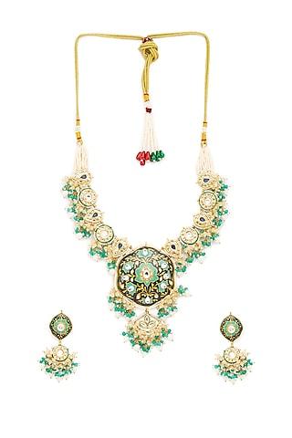 Gold Finish Necklace Set by Hrisha Jewels