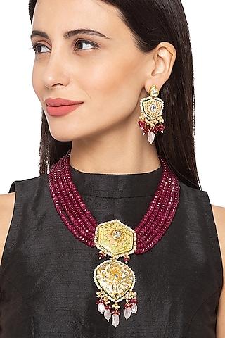 Gold Finish Short Necklace Set by Hrisha Jewels