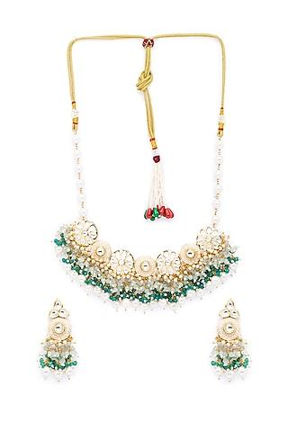 Gold Finish Pearls Choker Necklace Set by Hrisha Jewels