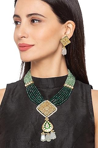 Gold Finish Pearl Necklace Set by Hrisha Jewels