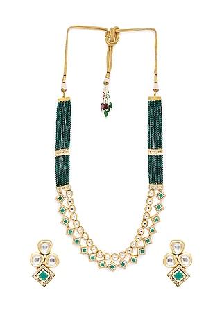 Gold Finish Kundan Necklace Set by Hrisha Jewels