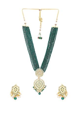Gold Finish Beaded Necklace Set by Hrisha Jewels