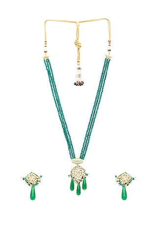 Gold Finish Beaded Long Necklace Set by Hrisha Jewels