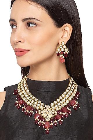 Gold Finish Kundan Choker Necklace Set by Hrisha Jewels