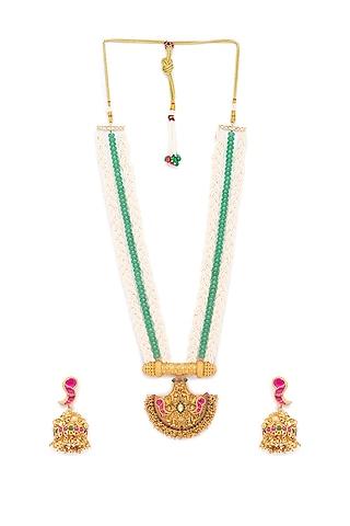 Gold Finish Bead Necklace Set by Hrisha Jewels