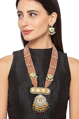 Gold Finish Kundan & Bead Necklace Set by Hrisha Jewels