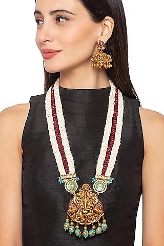 Gold Finish Bead & Kundan Necklace Set by Hrisha Jewels