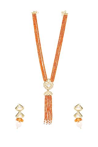 Gold Finish Necklace Set With Kundan by Hrisha Jewels