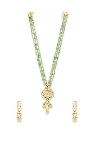 Gold Finish Necklace Set With Kundan & Bead by Hrisha Jewels