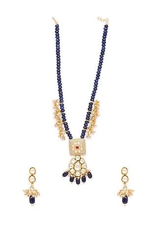 Gold Finish Beaded Short Necklace Set by Hrisha Jewels
