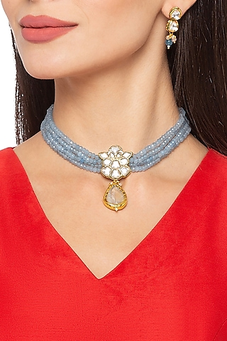 Gold Finish Collar Necklace Set by Hrisha Jewels