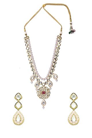 Gold Finish Shell Pearls Necklace Set by Hrisha Jewels
