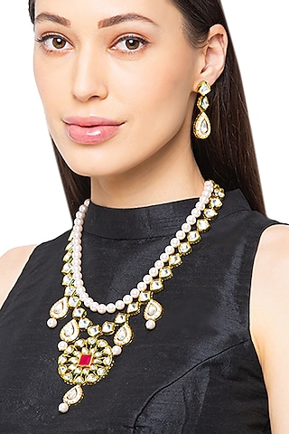 Gold Finish Shell Pearls Necklace Set by Hrisha Jewels