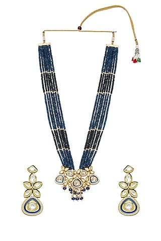 Gold Finish Agate & Pearl Necklace Set by Hrisha Jewels
