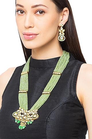 Gold Finish Italian Crystal Necklace Set by Hrisha Jewels