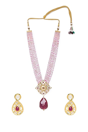 Gold Finish Natural Stone Necklace Set by Hrisha Jewels
