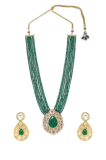 Gold Finish Agate Beaded Necklace Set by Hrisha Jewels