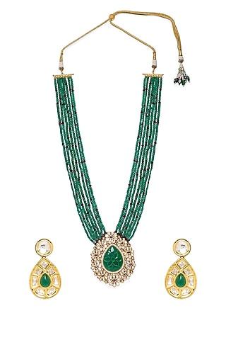 Gold Finish Agate Beaded Necklace Set by Hrisha Jewels