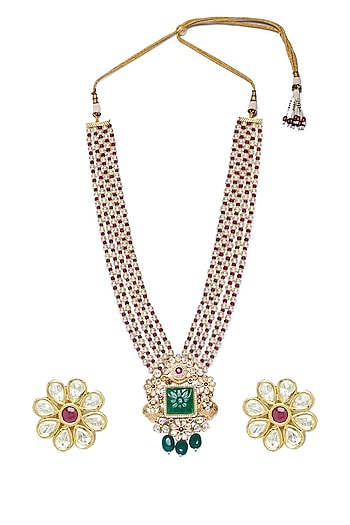Gold Finish Shell Pearl & Agate Necklace Set by Hrisha Jewels