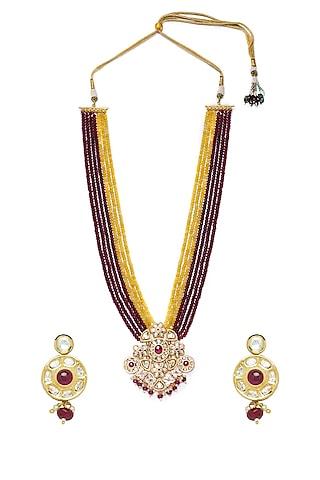 Gold Finish Polki & Agate Necklace Set by Hrisha Jewels