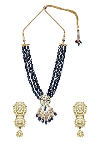Gold Finish Agate & Tumbles Necklace Set by Hrisha Jewels