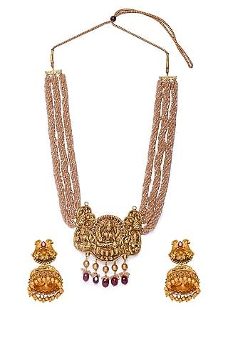 Gold Finish Tumble Beaded Necklace Set by Hrisha Jewels