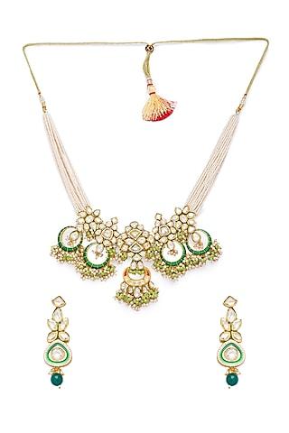 Gold Finish Shell Pearl Necklace Set by Hrisha Jewels