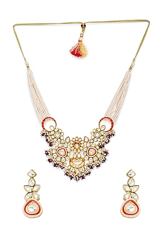 Gold Finish Beads Necklace Set by Hrisha Jewels