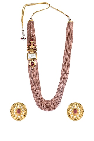 Gold Finish Mother Of Pearl Necklace Set by Hrisha Jewels