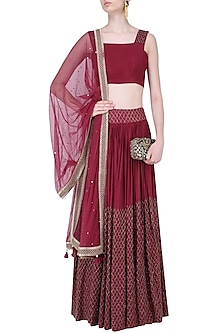 Marsala Jali Embroidered Lehenga Set by Mishru