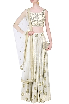 Beige and Ivory Embroidered Abstract Print Lehenga Set by Mishru