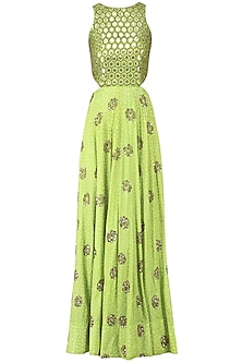 Green Embroidered Halter Cut-Out Anarkali Gown by Mishru