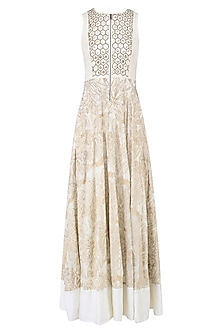 Beige Embroidered Abstract Print Anarkali Gown by Mishru