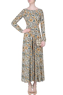 Green Floral Embroidered Cut-Out Jumpsuit by Mishru
