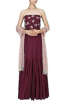 Marsala Off Shoulder Embroidered Gown by Mishru