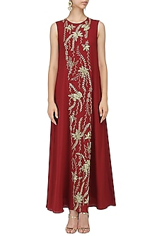Red Embroidered Flared Gown by Mishru