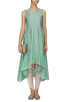 Jade Green Embroidered Asymmetrical Kurta and Dhoti Pants by Mishru