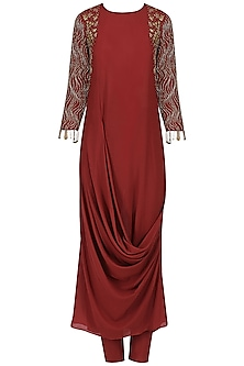 Red Cowl Drape Embroidered Kurta and Churidaar by Mishru