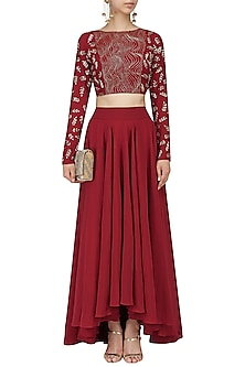 Red Embroidered Crop Top and Asymmetrical Lehenga by Mishru