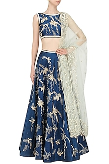 Ink Blue Embroidered Lehenga Set by Mishru
