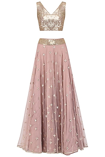 Muted Pink Embroidered Lehenga Set by Mishru