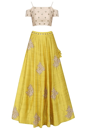 Yellow Floral Embroidered Lehenga with Ivory Off Shoulder Blouse by Mishru