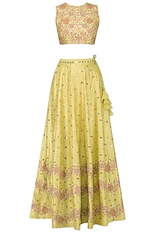 Yellow Floral Embroidered Lehenga and Blouse Set by Mishru