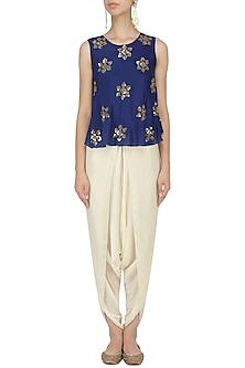 Royal Blue Sequinned Top and Dhoti Pants Set by Mishru
