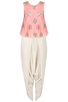 Peachish Pink Sequinned Top and Dhoti Pants Set by Mishru