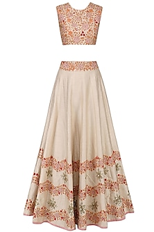 Beige Floral Embroidered Lehenga and Blouse Set by Mishru