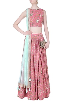 Pink Floral Embroidered Crop Top and Lehenga Set by Mishru