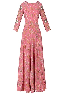 Pink Floral Flared Cutout Maxi Dress by Mishru